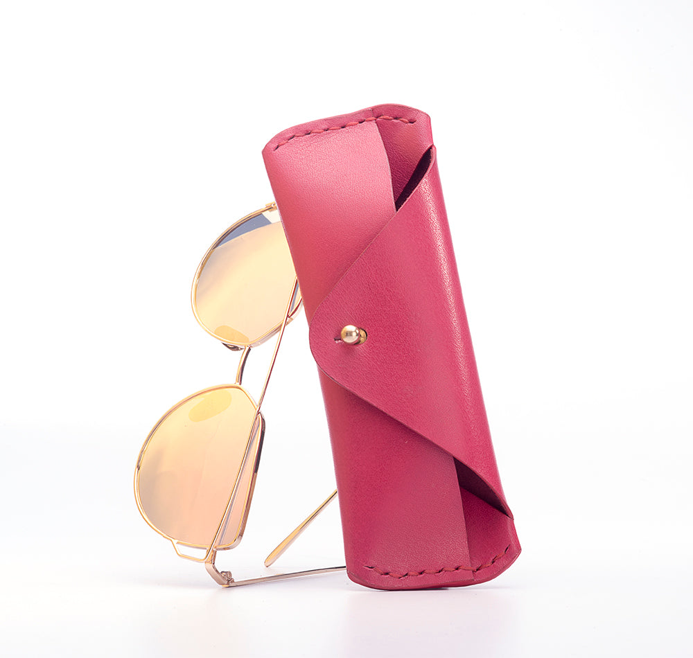 LEATHER SUNGLASS CASE - PINK - Two Horns