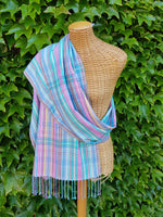 Handwoven Silk shawl / silk scarf pastel colours