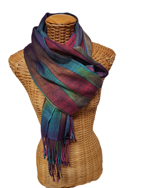 Very colourful wavy silk/cashmere scarf/shawl