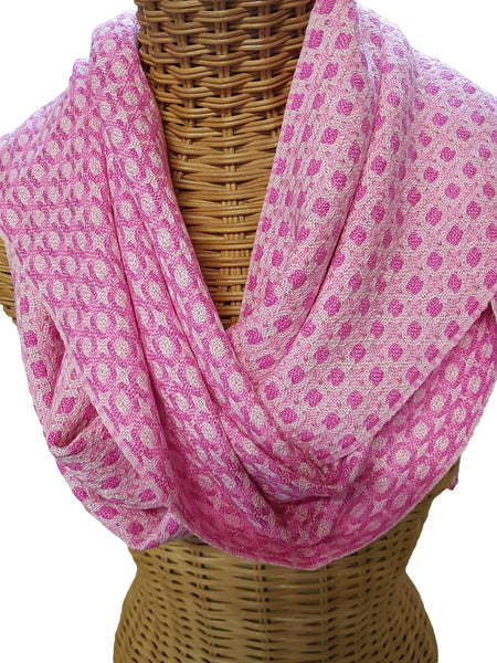 Pink and White silk scarf