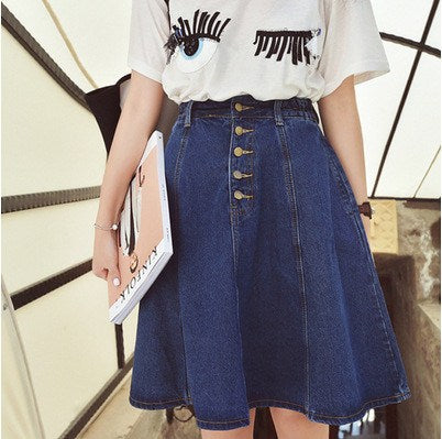 Button Front Denim A Line Skirt - TakeClothe - 1