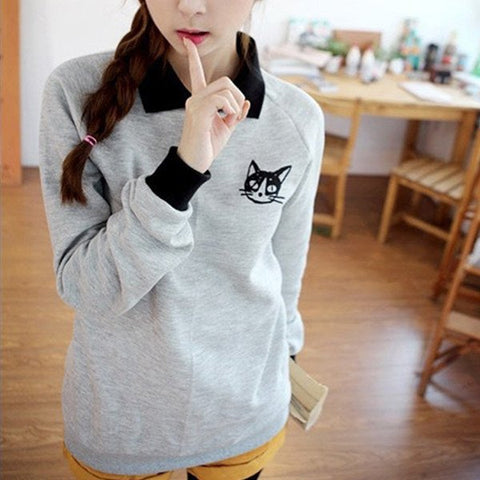 Sweatshirt with Cat (2 Colors) - TakeClothe - 1