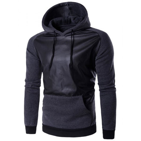 Hoodie with Leather Insert - TakeClothe