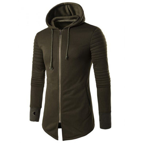 Longline Zip Up Hoodie In Khaki - TakeClothe