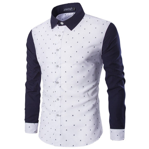 Skull Print Block Spliced Shirt (2 Colors) - TakeClothe - 1