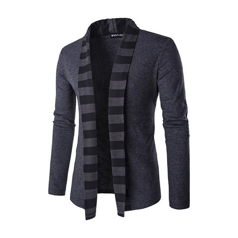 Slim-Fit Striped Shawl Collar Cardigan (2 Colors) - TakeClothe - 1