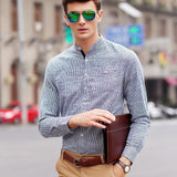 Striped Shirt With Grandad Collar (2 Colors) - TakeClothe - 2