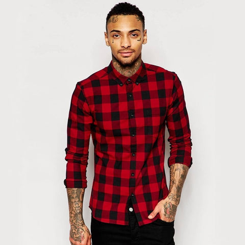 Skinny Shirt in Burgundy Buffalo Plaid with Long Sleeves - TakeClothe - 1