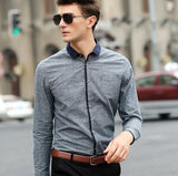 Smart Shirt With Contrast Placket (2 Colors) - TakeClothe - 1