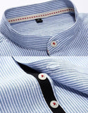 Striped Shirt With Grandad Collar (2 Colors) - TakeClothe - 3