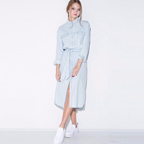 Denim Shirt Dress - TakeClothe - 1