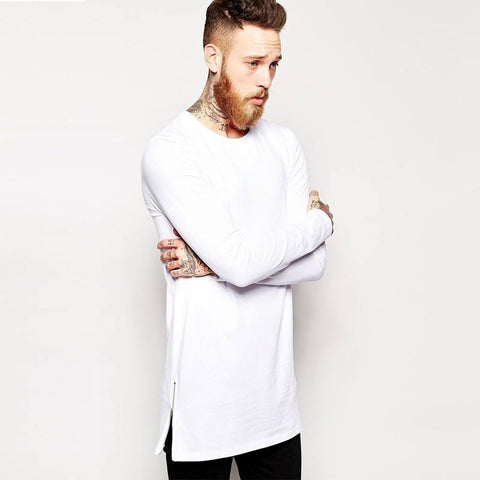 Longline T-Shirt With Crew Neck with Long Sleeve - TakeClothe - 1
