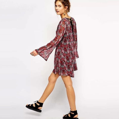 Long Sleeved Skater Dress With Baroque Print - TakeClothe - 1
