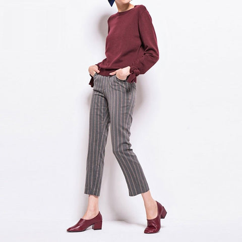 Awkward Length Pants In Stripe - TakeClothe - 1