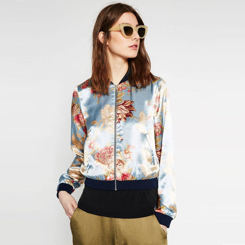 Contrast Ptinted Bomber Jacket - TakeClothe - 1