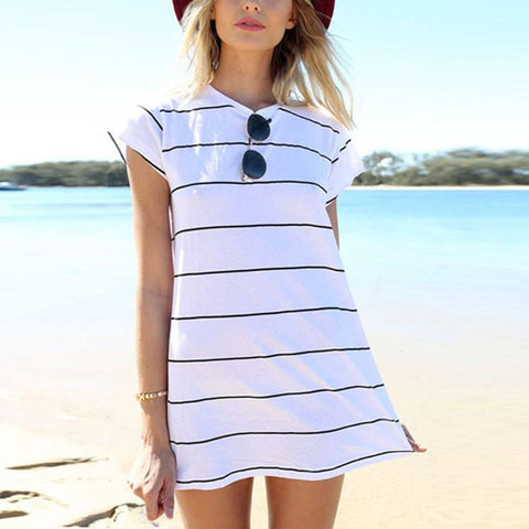 Striped Shirt Dress - TakeClothe