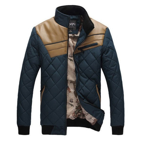 Quilted Jacket with Leather Insert (4 Colors) - TakeClothe - 1