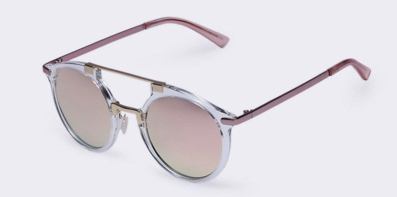 Round Sunglasses With Metal Bridge High Bar With Flat (7 Colors) - TakeClothe - 1