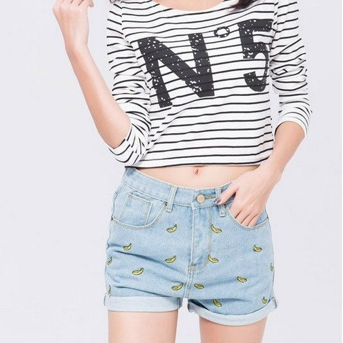Denim Embroidered Shorts - TakeClothe - 1
