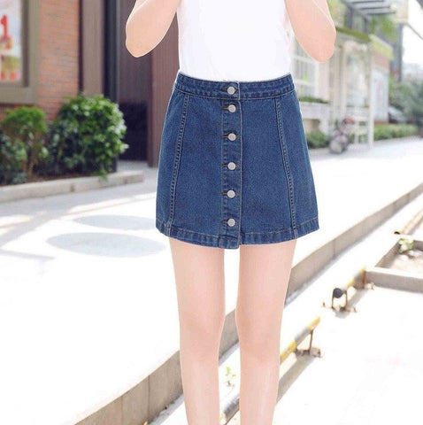 Button Up Vintage Denim Skirt - TakeClothe - 1