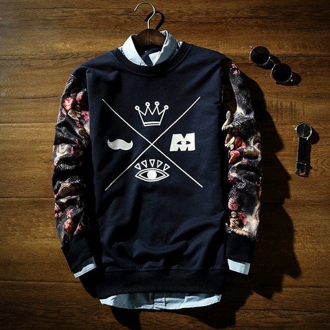 Crew Neck Sweatshirt With Print - TakeClothe - 1