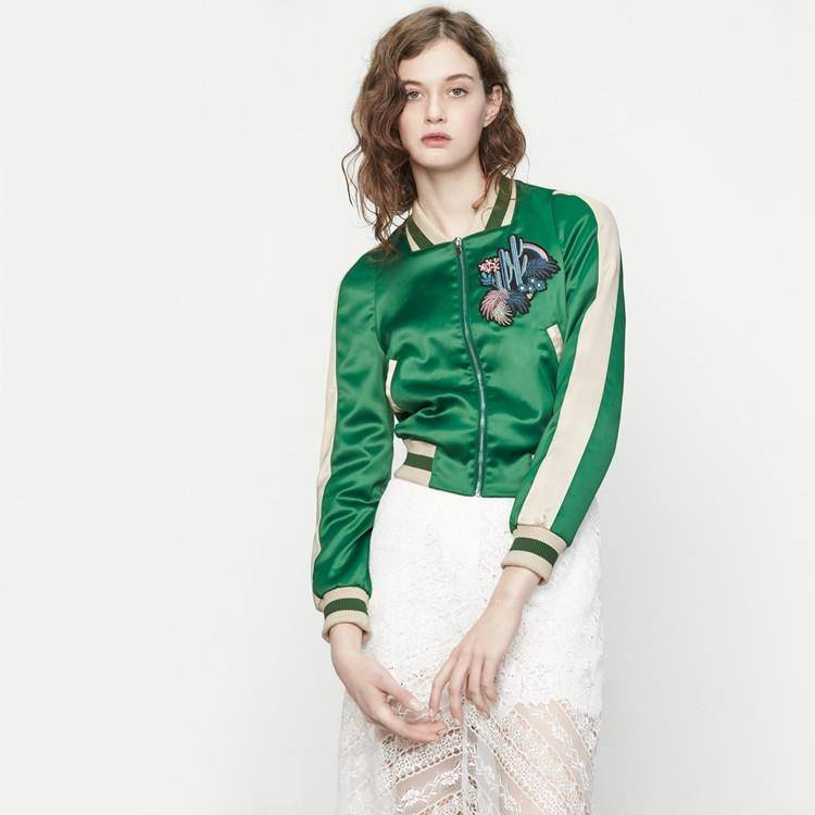 Contrast Embroidered Bomber Jacket - TakeClothe - 1