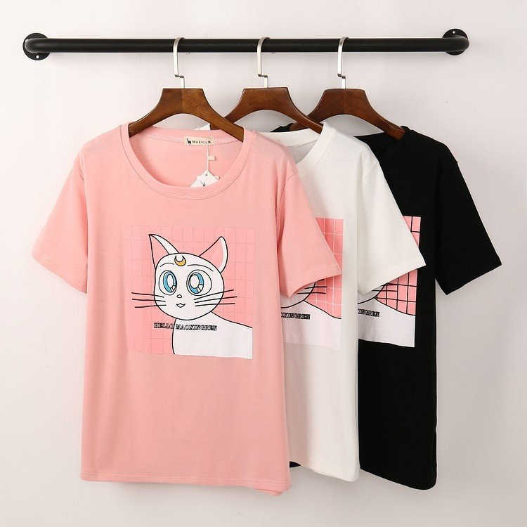 T-Shirt With Cat Motif (3 Colors) - TakeClothe - 1