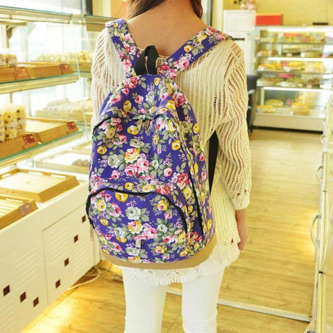 Floral Backpack With Leather Base (3 Colors) - TakeClothe - 1