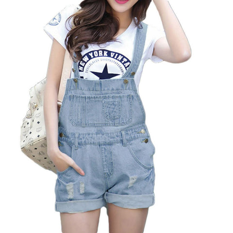 Denim Overall Shorts in Bleach Wash - TakeClothe - 1