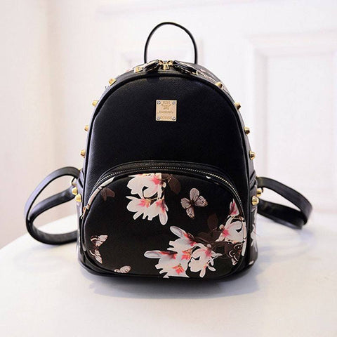 Floral Backpack with Studding Detail (2 Colors) - TakeClothe - 1