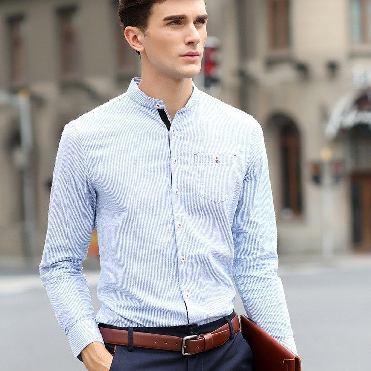 Striped Shirt With Grandad Collar (2 Colors) - TakeClothe - 1