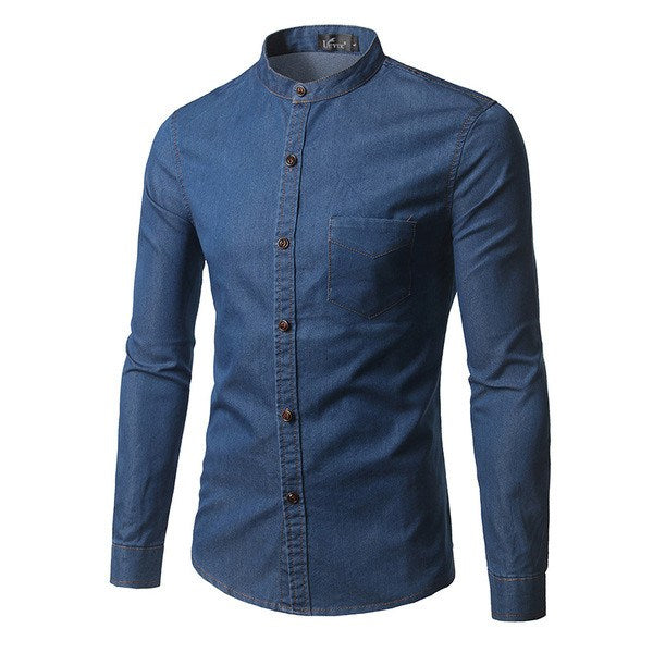 Grandad Collar Denim Shirt (3 Colors) - TakeClothe - 1