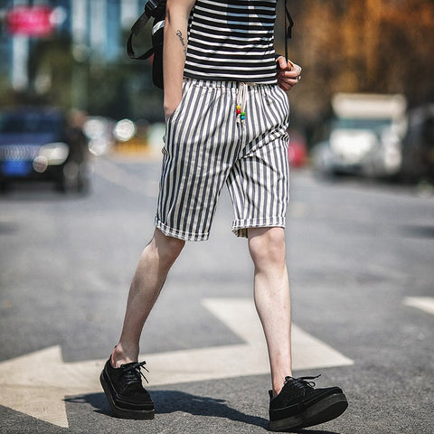 Striped Shorts In Long Length (4 Colors) - TakeClothe - 1