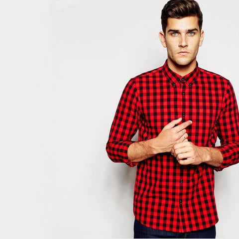 Plaid Shirt In Gingham Red - TakeClothe - 1