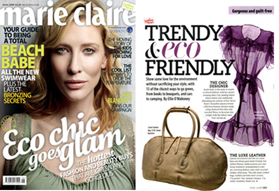 """The soft handcrafted bags, don't scream I'm green, but instead I am rather beautiful thankyou"" - Marie Claire"