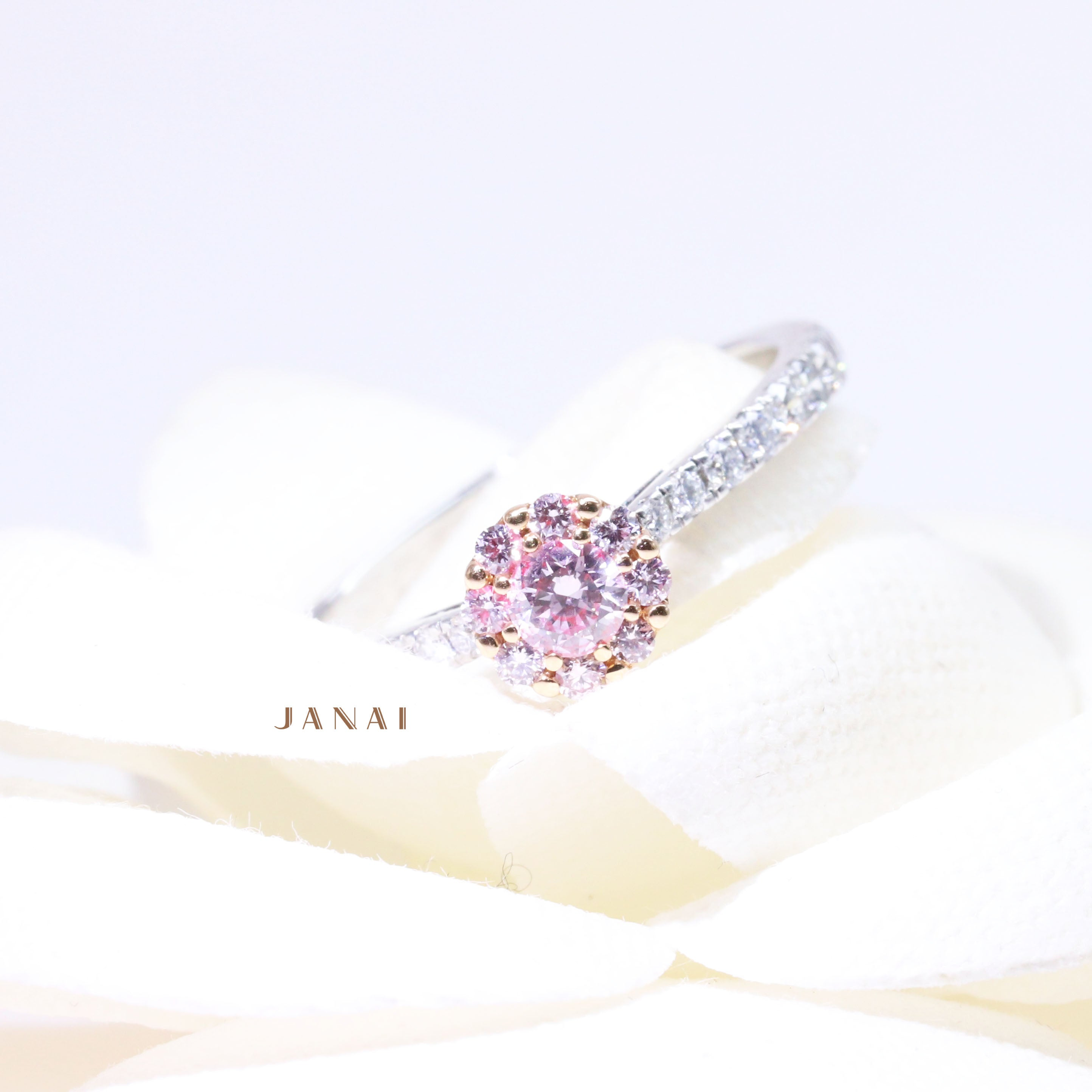 Illusion Cluster Ring with Argyle Pink Diamonds