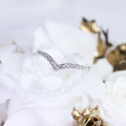 White Gold V Diamond Ring
