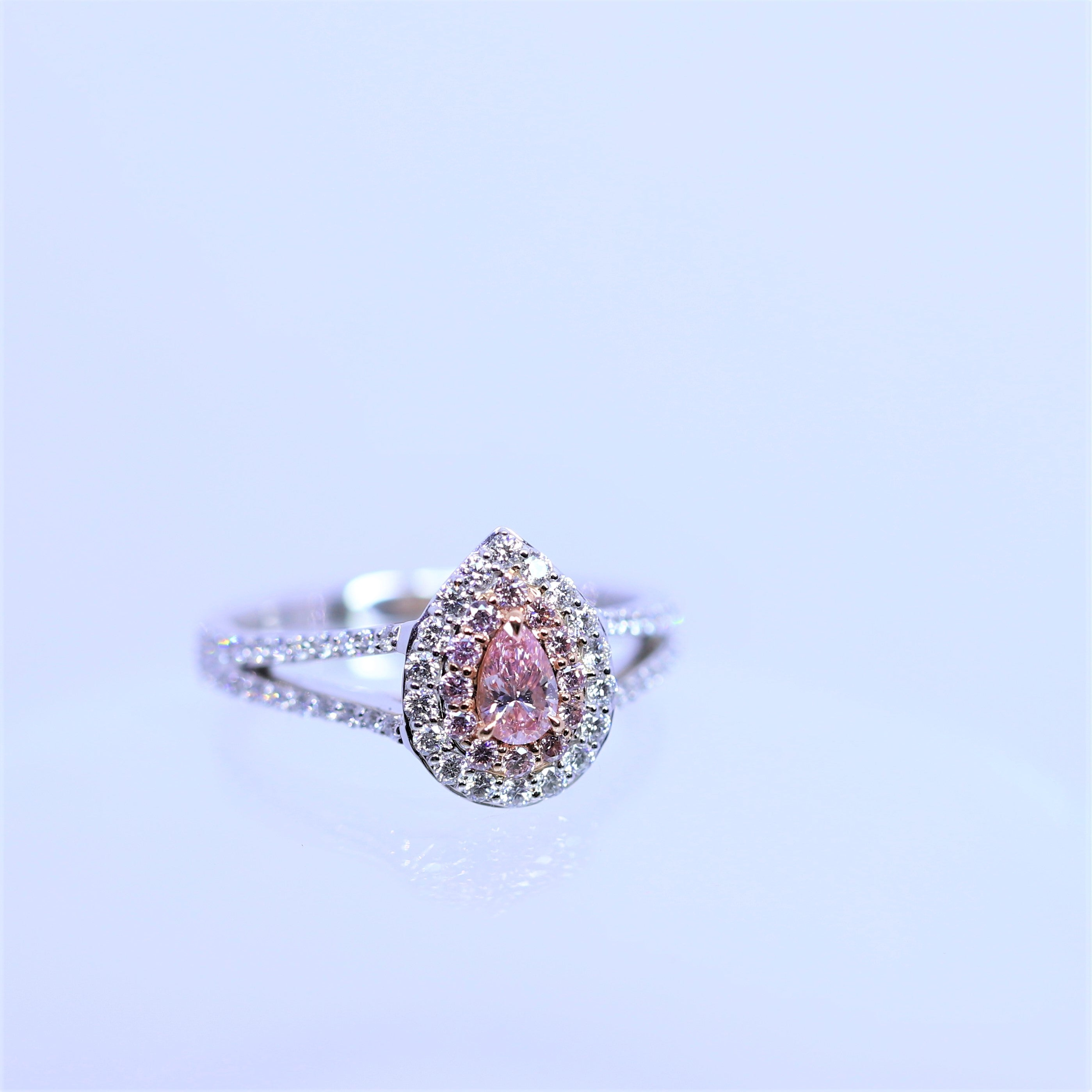 0.19ct Pear Argyle Pink Diamond Halo Ring