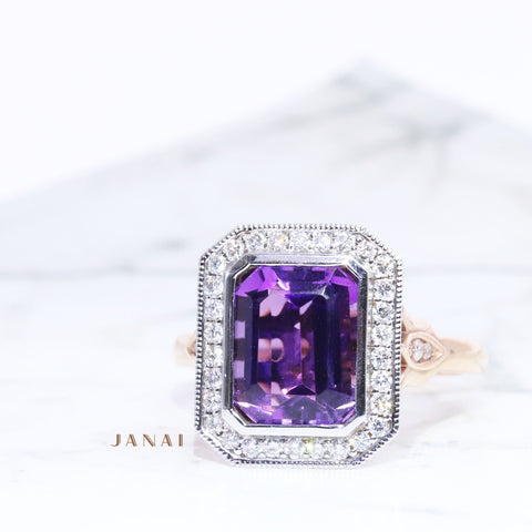 Cluster Halo Amethyst Ring