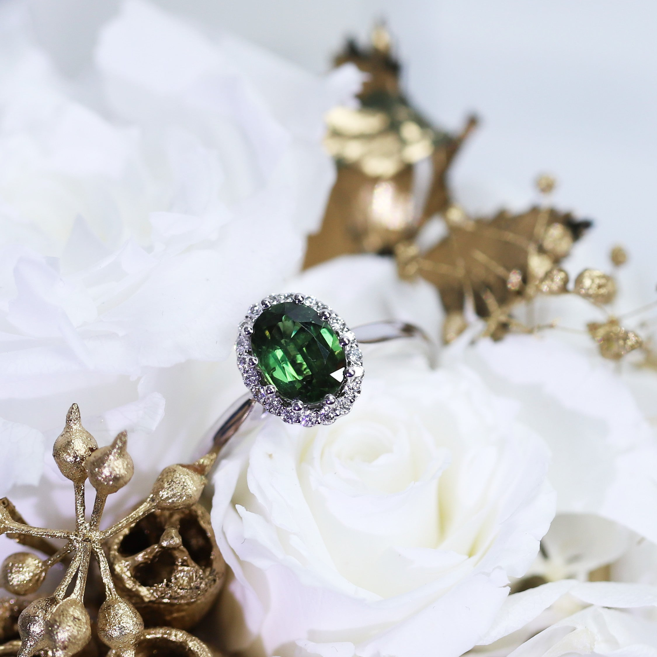 Green Blue Sapphire Ring
