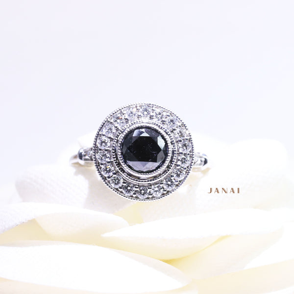 1.07ct Round Black Diamond Halo Ring