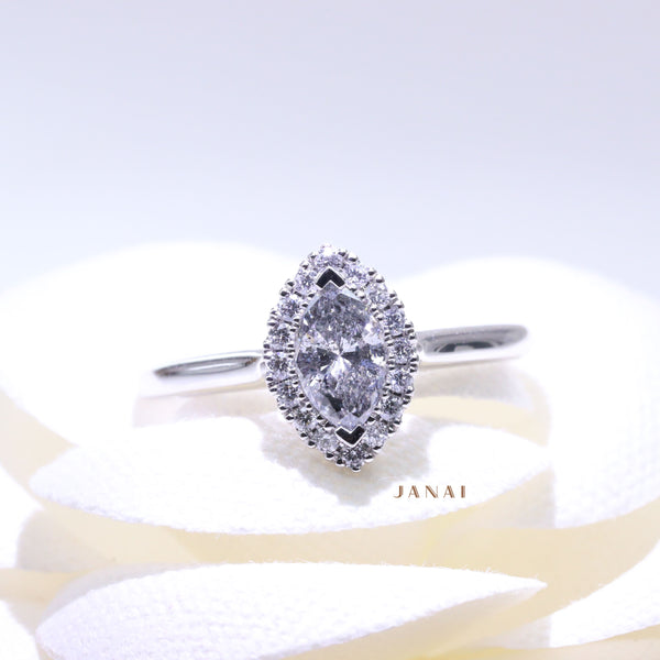 0.53ct Marquise Salt & Pepper Diamond Halo Ring