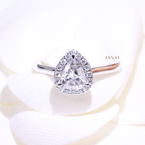 0.79ct Pear Shaped Halo Salt and Pepper Diamond Ring