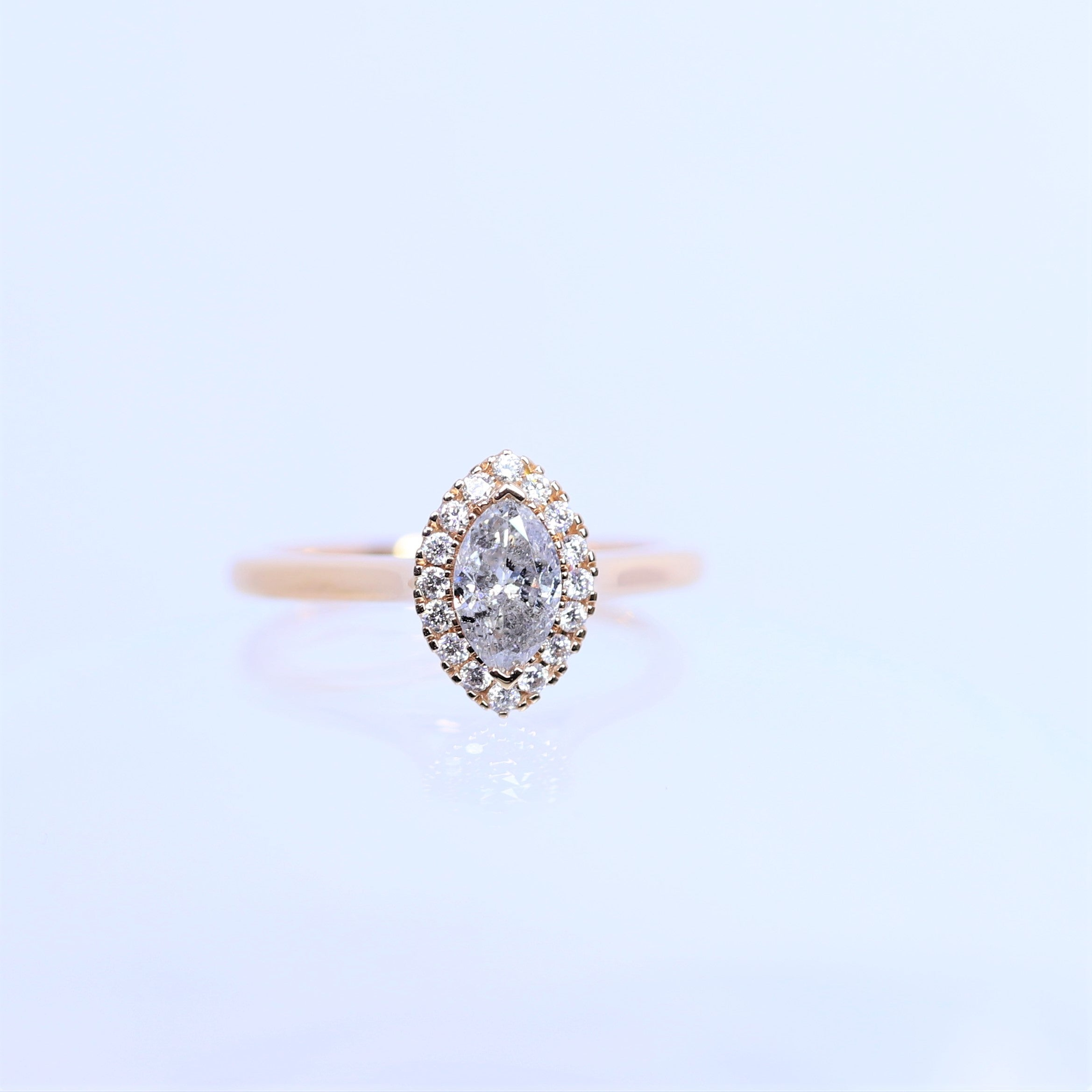 0.60ct Marquise Salt & Pepper Diamond Halo Ring
