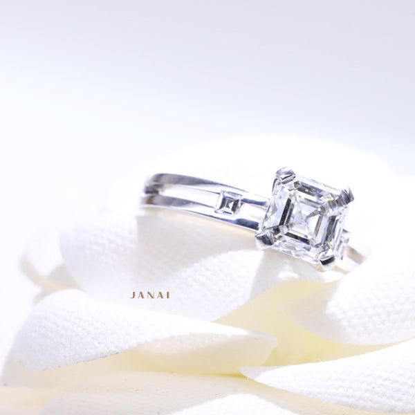 1.70ct Asscher Solitaire Diamond Ring