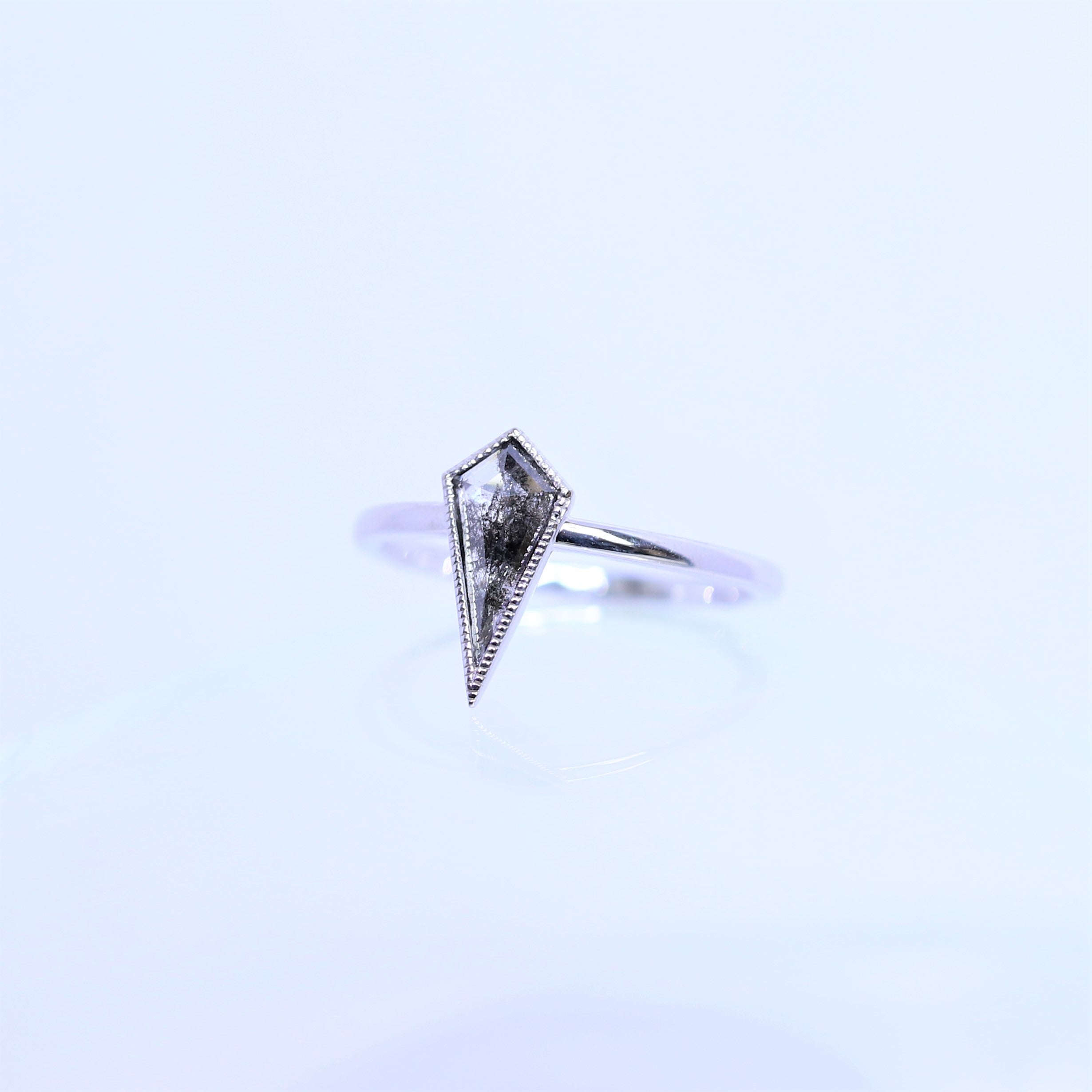 0.61ct Salt & Pepper Kite Shaped Diamond Ring