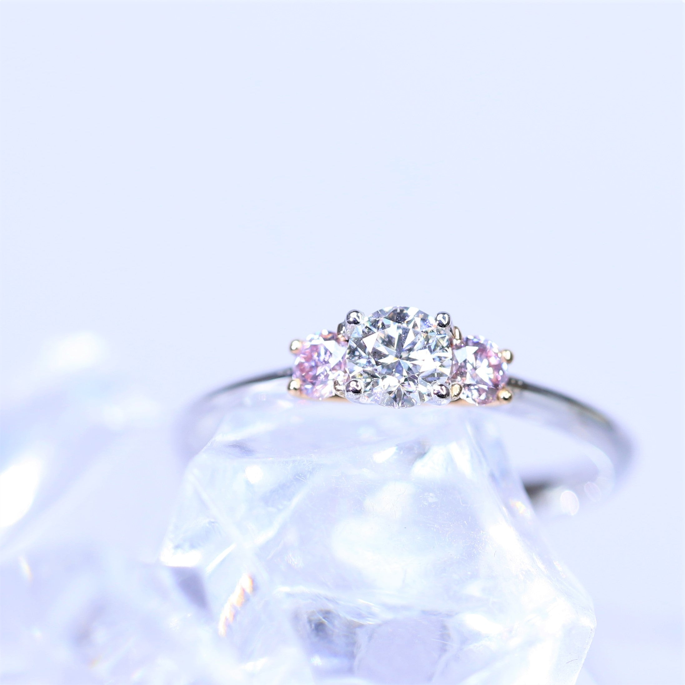 0.30ct White Diamond and Argyle Pink Trilogy Ring