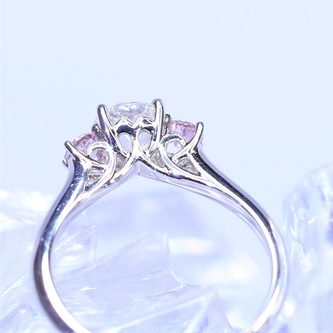 0.72ct White Diamond and Argyle Pink Trilogy Ring