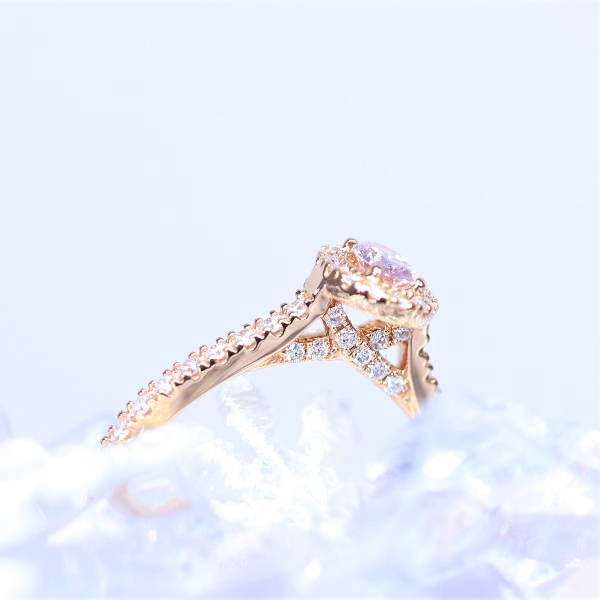 0.20ct Argyle Pink Oval Halo Ring
