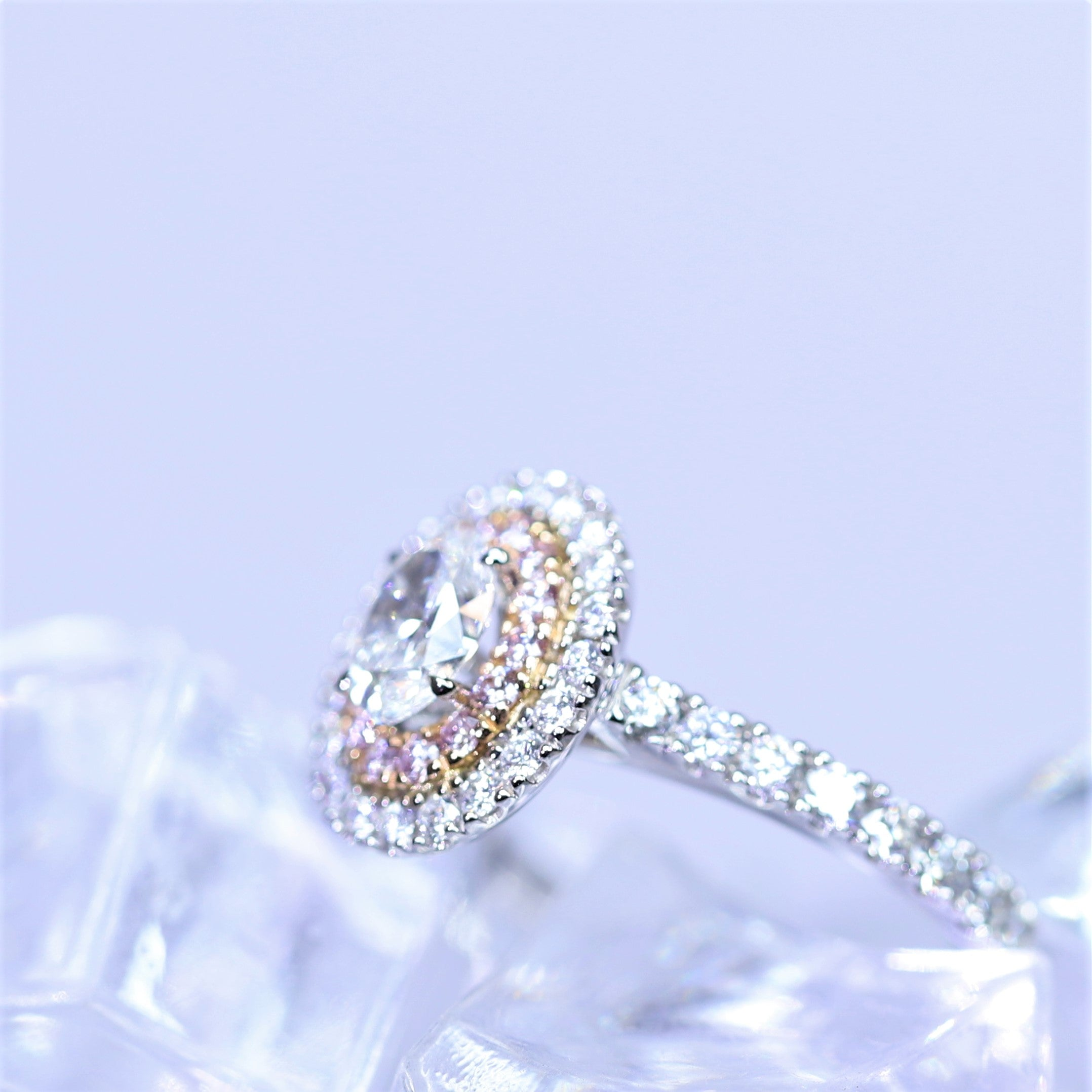0.50ct White Oval Diamond, Argyle Pink Halo Ring